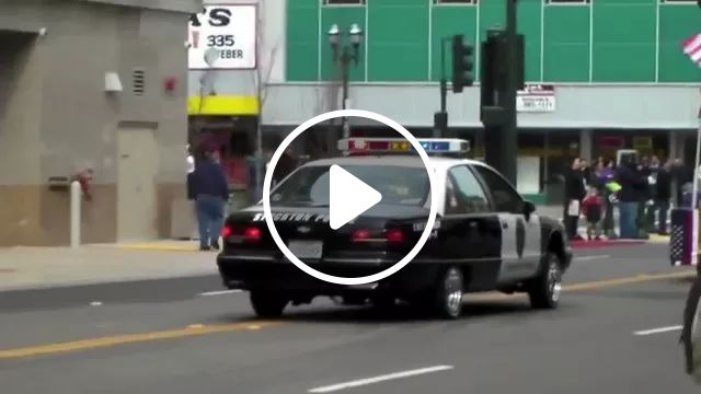 Luxury police car running on the street