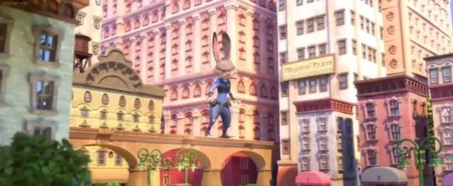 giant cartoon rabbit in city of mouse
