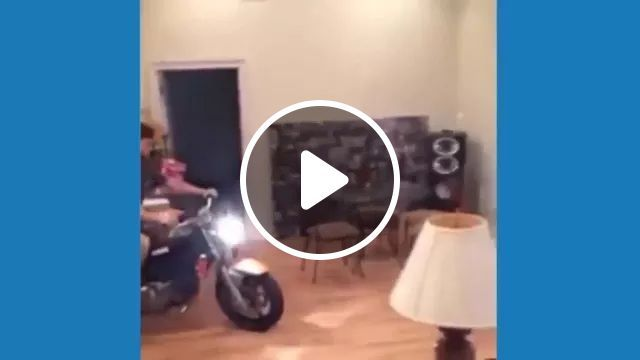 Man Driving A Motorbike In House - Video & GIFs   motorcycles, wooden tables, wooden chairs, brick walls