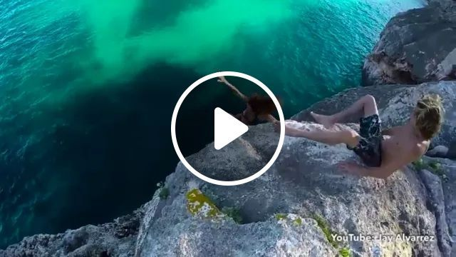 Man Helping Girl Jump From Cliff To Sea In Travel - Video & GIFs   American travel, sea, swimming, sea fashion