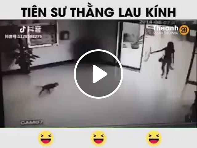 girl was surprised when dogs hit glass doors inside mall