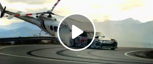 Sports car and a helicopter are very close together on the road, Sports cars, helicopters, luxury cars, luxury vehicles, roads