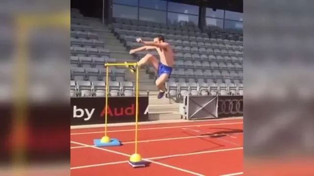 Athletes jumping high obstacles