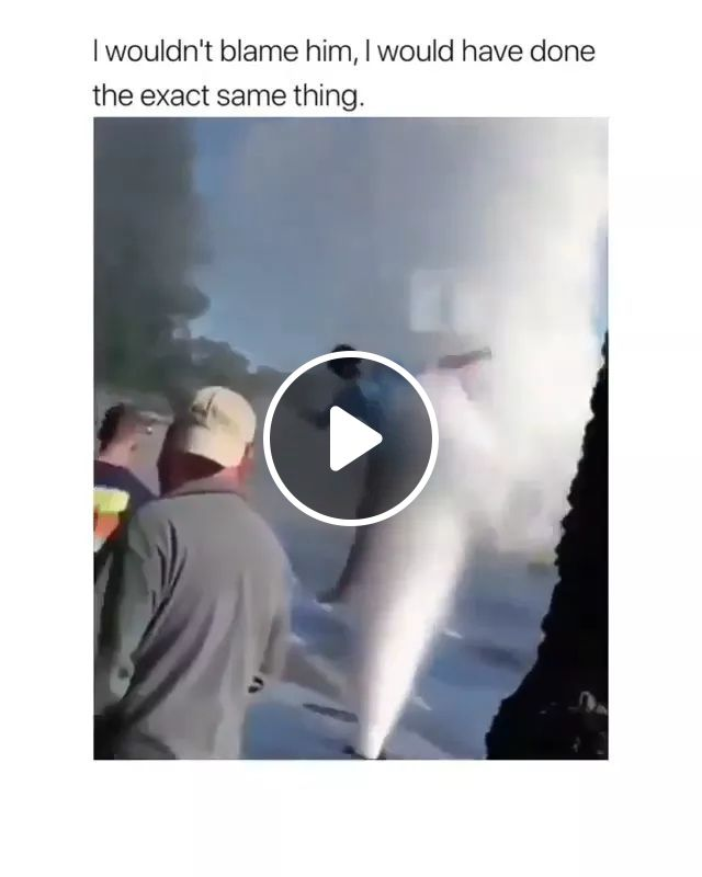 A Man Was Pushed By Strong Water Forces - Video & GIFs   man, pushed, strong water forces, street, jump, stupid