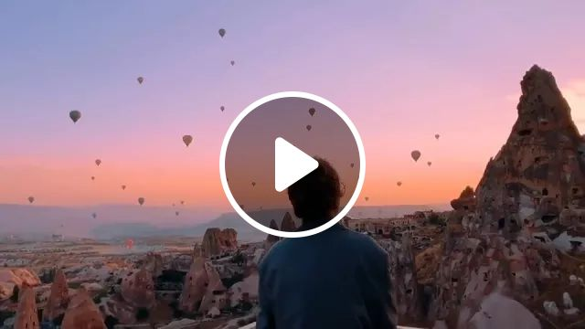 Beautiful Sunset And Hot Air Balloon - Video & GIFs   beautiful, sunset, hot air balloon, nature, Turkey travel