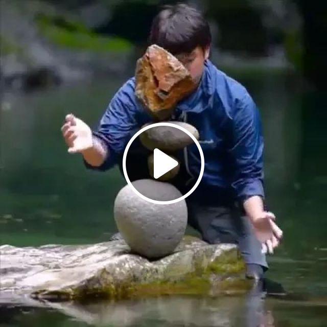 A Man Has Ability To Keep Balance For Stones - Video & GIFs | man, ability, balance, stones, performace, river