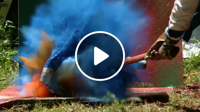 It Was Amazing, Colors Mixed Together When Hammer Hit Paint Cans - Video & GIFs | amazing, colors, mixed, together, hammer, paint cans