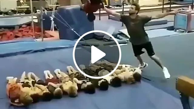 Child Made Acrobatic Distance - Video & GIFs | child, performance, distance, acrobatics, fitness center, sports equipment, sports wear, sports shoes