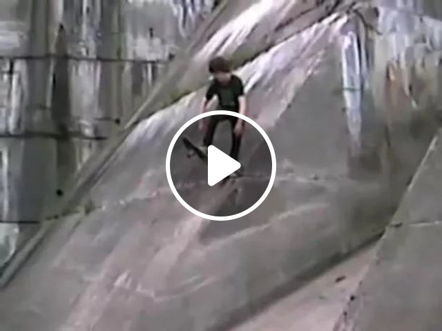 He tried to skateboard from cliff, skateboarding, performing, falling