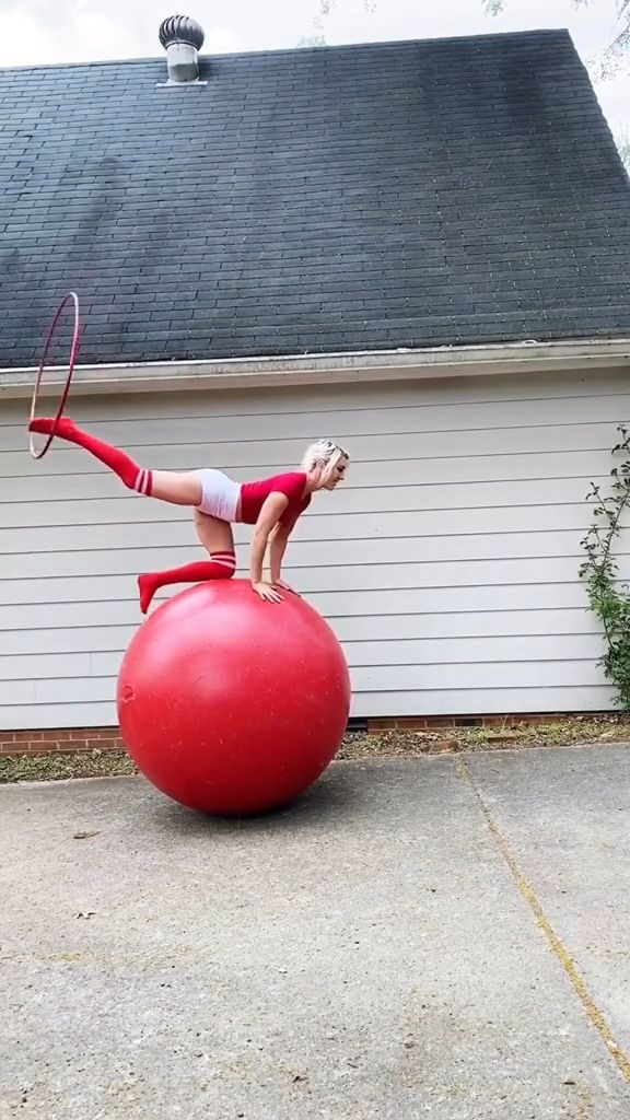 Balance exercise on the rubber ball