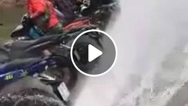 Rear Wheels Of Motorcycles Touch Water And Push Water Up High - Video & GIFs | rear wheels of motorcycles, touching the water surface, push water up high