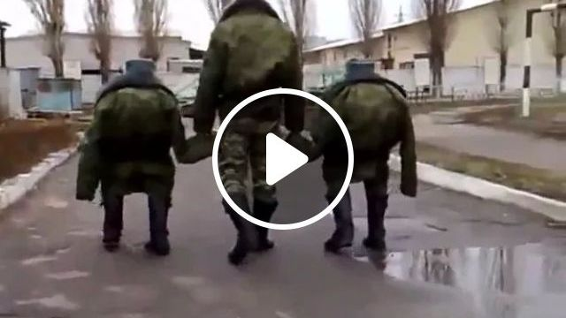 Three soldiers with uniforms, funny soldiers, camouflage performances, military clothes