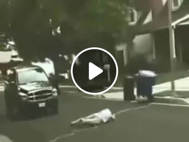 Powerful engine of lawn mower pulling men on the street