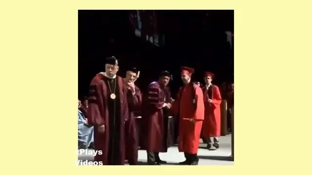After receiving a college graduation certificate, he performed acrobatics - Video & GIFs | man, receive, certificate, university graduate, performance, acrobatics, professor, student, university, graduation ceremony