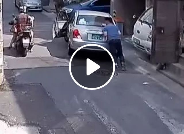 Woman saving car on the road