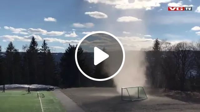 In Football Match, Tornado Moves Goal - Video & GIFs   football matches, lawns, sports shoes, sports shirts, tornadoes move the goal