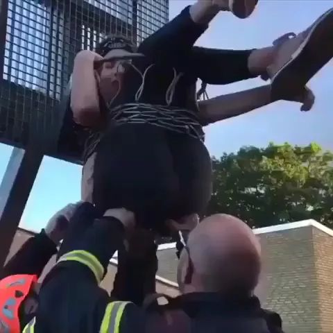 rescue team is rescuing girl from above - Video & GIFs | rescue team,rescuing,girls,women fashion,protective vests