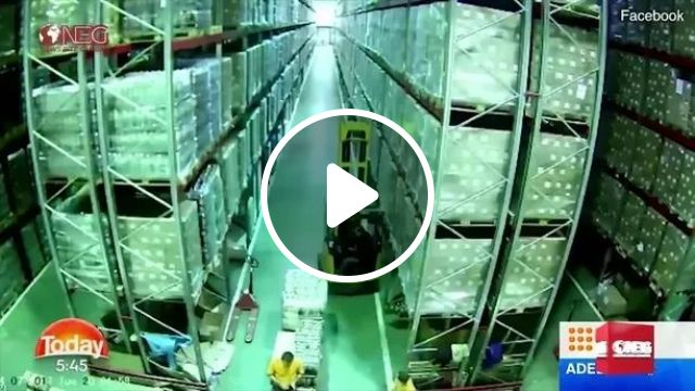 In Warehouse, Forklift Man Bumped Into Shelf - Video & GIFs   man, controlled, forklift, pile of goods, warehouse, everyday life, failing