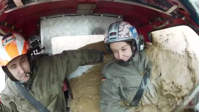 terrain sports car and Russian girl on offroad