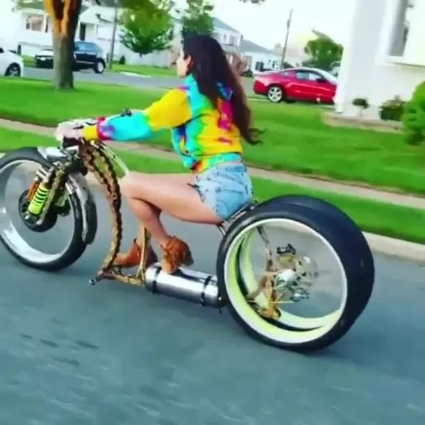 girl is traveling on a luxury motorbike