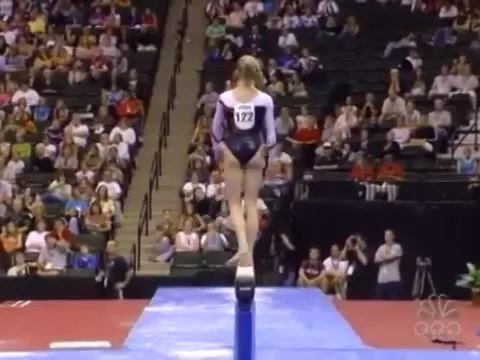 Performing female athletes acrobatics