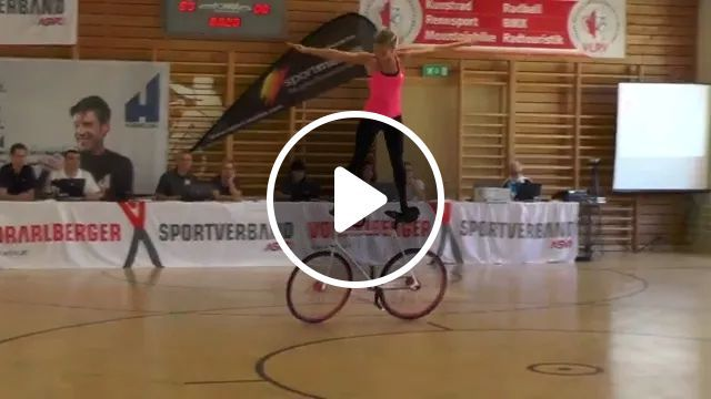 Talented Girl Performing Balance On The Bike - Video & GIFs | girls, talent, performances, balance, bicycles, sportswear, sports shoes