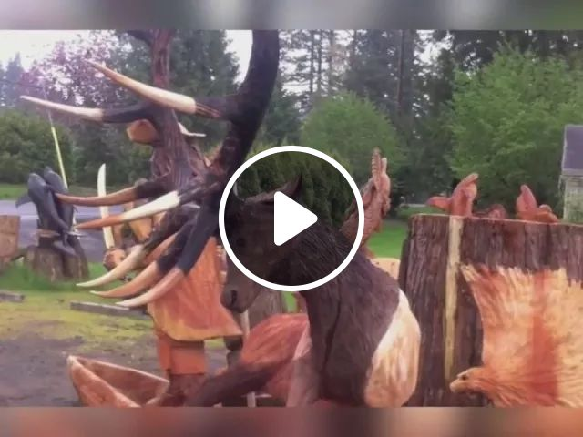 deer is made from wood by a chainsaw, talented man, wood art, export wood, wood decoration tools