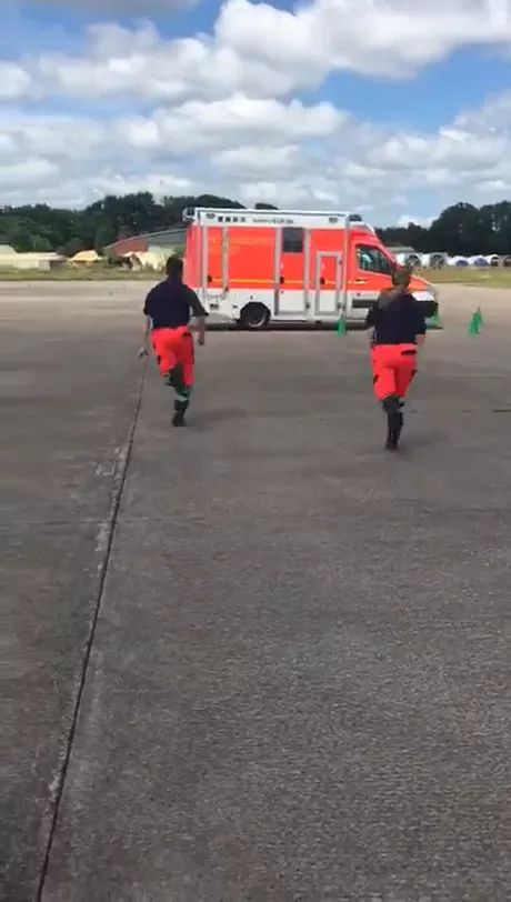 Rescue team is practicing on an ambulance