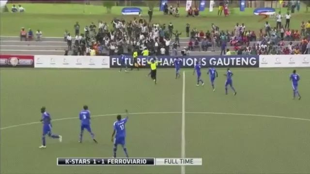 goalkeeper ran to middle of field to celebrate goal but was unlucky