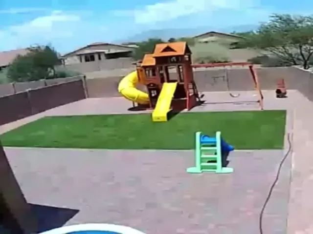 trampoline catches wind from sky and falls down to yard