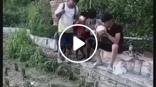 Young man pranks on his friend, play stupid, mud, bad luck, friend, eat